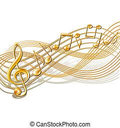 notas, personal, white., plano de fondo, musical