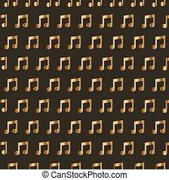 notas., seamless, dorado, papel pintado, música