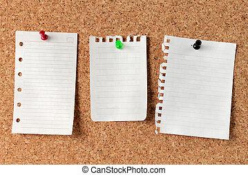 notas, tabla, corcho