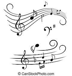 notas, travesaño, musical