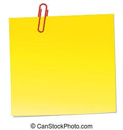 note papel, amarillo, clip, rojo
