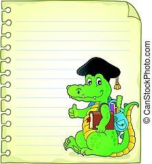 Notepad página con el tema de la escuela cocodrilo