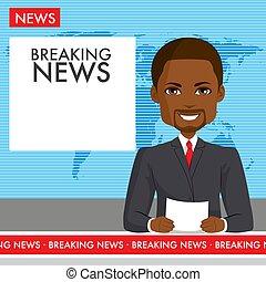 noticias, macho, negro, ancla