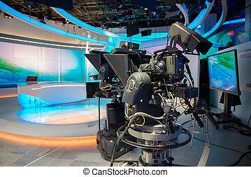 noticias, televisión, molde, estudio