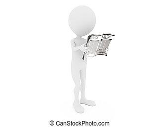 Noticias. Un personaje humano 3D leyendo un periódico.