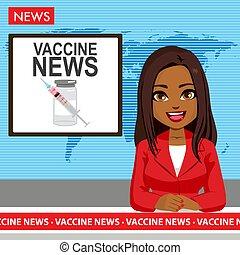 noticias, vacuna, negro de sexo femenino, locutor