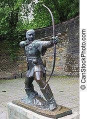 nottingham, nottingham, gb, estatua, robin hood, castillo