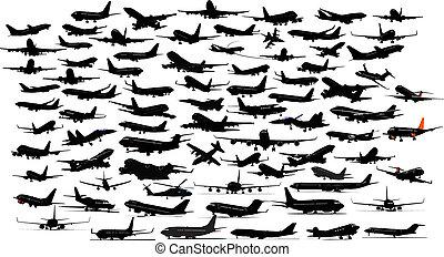 Noventa siluetas de avión. Ilustración del vector.