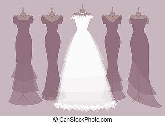novia, damas de honor, equipos