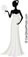 Novia embarazada con vestido largo, silueta vectorial