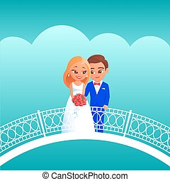 novia, novio, bridge., caricatura