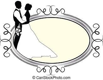 Novia y novio con marco de plata