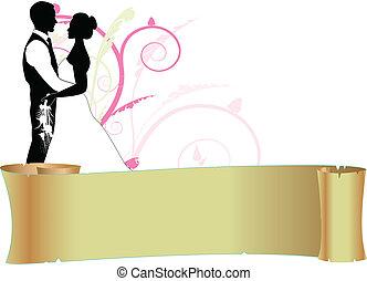 Novia y novio con pergamino