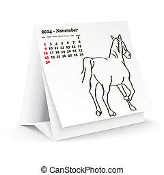Noviembre 2014 calendario de caballos de escritorio