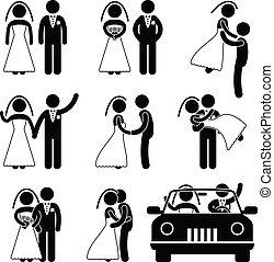 novio, novia, matrimonio, boda