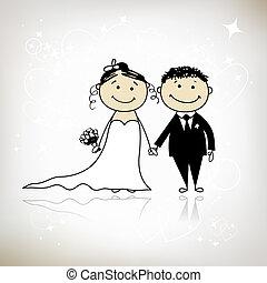 novio, su, boda, -, ceremonia, juntos, diseño, novia