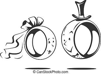 Novio y novia. Anillo de boda