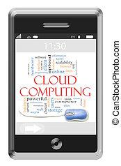 Nube computando concepto de nube de palabras en el teléfono