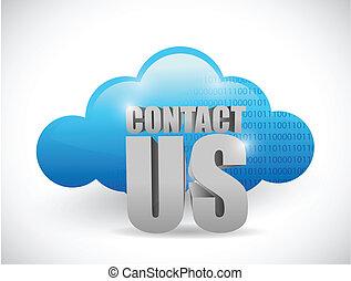 Nube computando contacto con nosotros diseño de ilustración