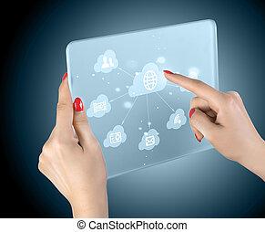 Nube computando interfaz de pantalla de contacto