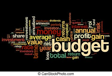 nube, concepto, presupuesto, etiqueta