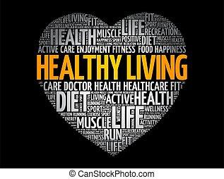nube, condición física, vida, corazón, sano, deporte, palabra