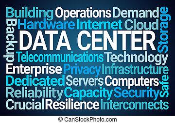 nube, datos, palabra, centro