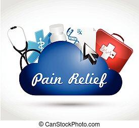 Nube de alivio del dolor computando concepto médico