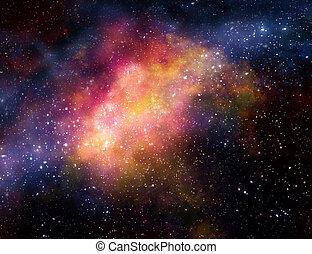 Nube de gas nebuloso en el espacio exterior