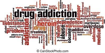 Nube de palabra de adicción a las drogas