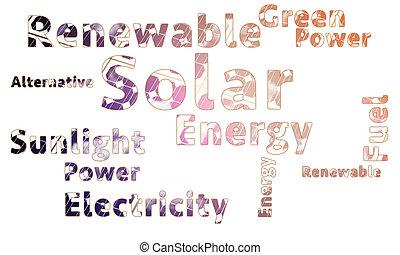 Nube de palabra de energía solar