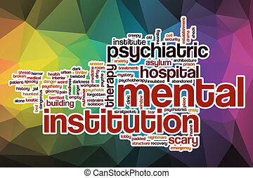Nube de palabra de institución mental con antecedentes abstractos