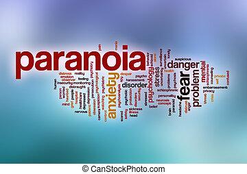 Nube de palabra de paranoia con antecedentes abstractos