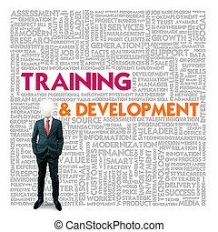Nube de palabras para el concepto de negocios y finanzas, entrenamiento y desarrollo