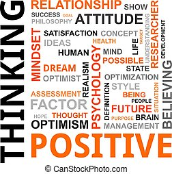 Nube de palabras, pensamiento positivo
