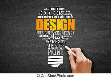 nube, diseño, palabra, bombilla, collage, luz