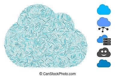 nube, icono, collage, arranque