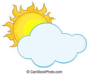 nube, lleno, atrás, sol