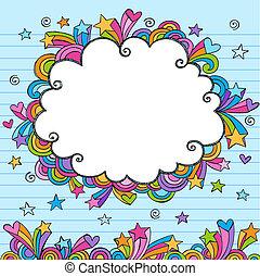 nube, sketchy, garabato, frontera, marco