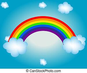Nube, sol, luz del arco iris