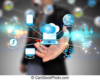 nube, tenencia, hombre de negocios, tecnología, informática, concepto