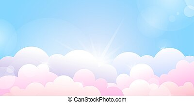 nubes, azul, salida del sol, rosa, cielo