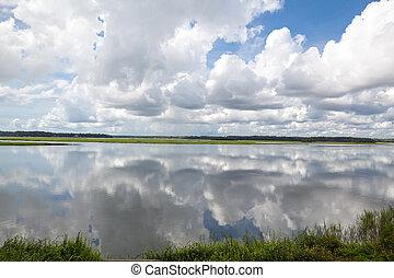 nubes, bluffton, poder, hinchado, reflejado, río, dramático, blanco, carolina del sur