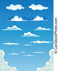 nubes, caricatura, conjunto