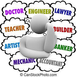 nubes, carrera, elecciones, pensamiento, pensador, perplejo, ocupación