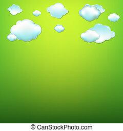 Nubes con fondo verde