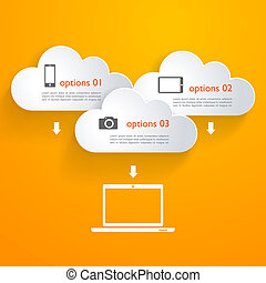 Nubes de red con elementos infográficos y iconos
