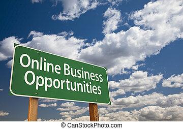 nubes, empresa / negocio, oportunidades, señal, verde, en línea, camino