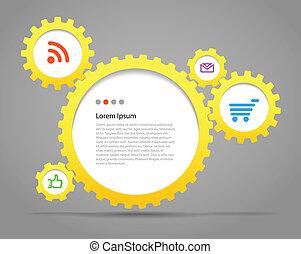 nubes, engranaje, texto, resumen, icons., discurso, plantilla, medios, ruedas