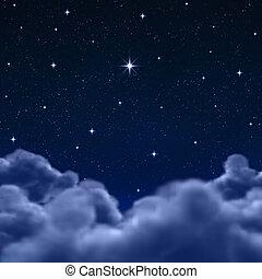 nubes, espacio, cielo, por, noche, o